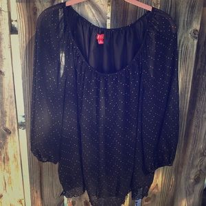 Black and gold sheer blouse